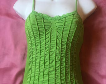 Kelly Green Ruched BEBE Cami 90s 00s 2000s