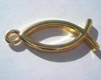 26mm Copper Charm, Jesus / Christian Fish Ichthys Charm, Gold Plated Hollow Charm, Half-Price Gold Plated Charm!! C220