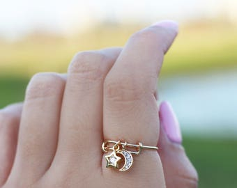 Star and Moon Ring / Adjustable Ring / CZ Star Moon Ring / Delicate Ring in Gold Fill or Sterling Silver