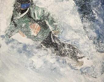 Original Watercolour Ski - Japow