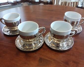 Godinger Silver Plated ceramic lined teacup set