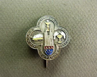 french Antique Religious Brooch. Agnus Dei, Chalice, Cathedral. 1934 badge. Pine