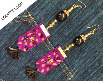 Boho chic suede purple panther earrings