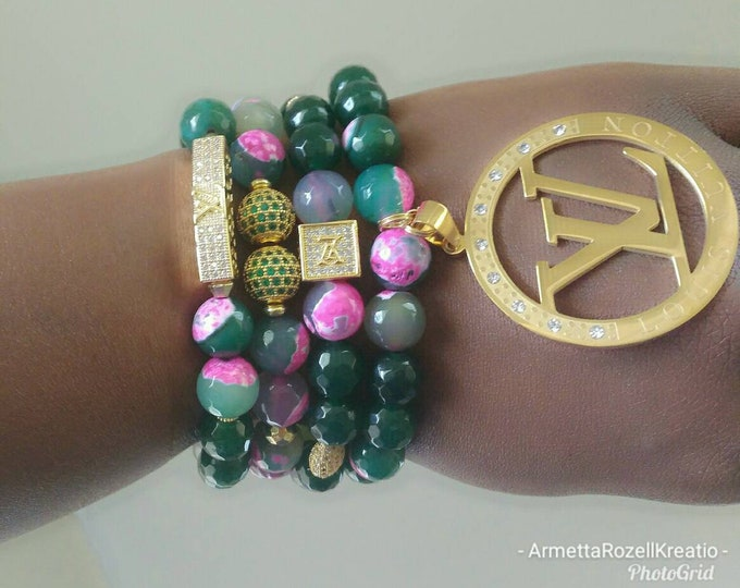 Designer Inspired Agate Stone Pink, Green and gold Ladies Stretch Charm Bracelet Stack