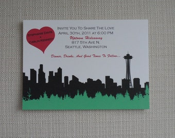 Seattle Silhouette Wedding Save the Date or Invitation