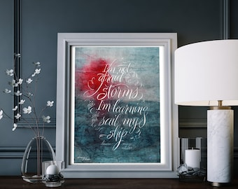 Fine Art Print: Learning to Sail (Louisa May Alcott). Calligraphy, hand lettered watercolor quote, ocean art