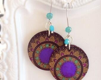 Festival Jewelry - Purple Mandala Earrings - MANDALA 1 Earrings - Enchanted Dreams Collection