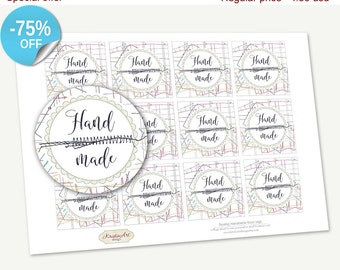 """75% OFF SALE Favor Tags Printable """"Sewing Handmade"""", Printable Handmade, Cupcake Toppers, Printable Supplie, Stickers, Labels Tags"""