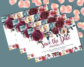 Autumn floral A6 Save the Date design