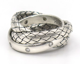 WOVEN ROLLING RING with Diamond Accents | Sterling Silver
