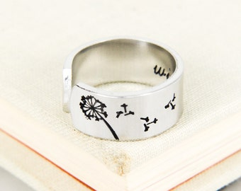 Dandelion Wish Ring - Adjustable Aluminum Ring