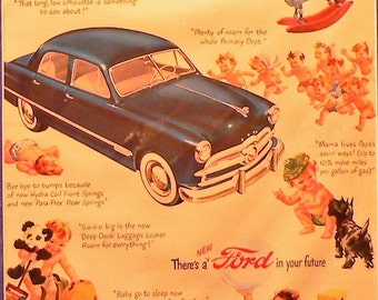 1948 Ford Sedan Car Ad Matted Vintage Print