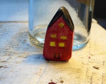 School House - handmade clay bead