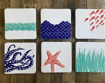 Platter, cheese plate, nautical pottery
