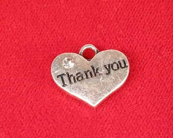 "15pc ""Thank you"" charms in antique silver style (BC1000B)"