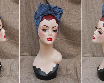 JEANS blau PUNKTE Turban Headband Turbandband Haarband Vintage fifties forties 40-er 50-er Fünfziger Haarschmuck Kopftuch Polka dots punkte