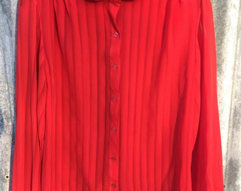 Sheer Red Striped Blouse with Peter Pan Collar