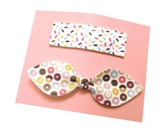 Dount Bow | Sprinkles Hair Clip | Fuax Leather Hair Clips | Donut Print Faux Leather | Sprinkle Print Faux Leather