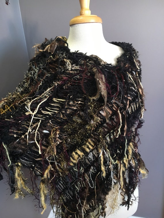 Hand knit funky large poncho,Dumpster Diva 'Rocky Mountain', Fringed Poncho, Huntress, Knit Poncho, black maroon gold, bohochic, couture