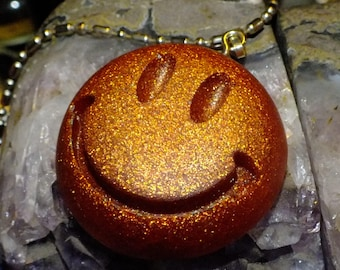 Sparkly Bronze Smiley Face Resin Pendant