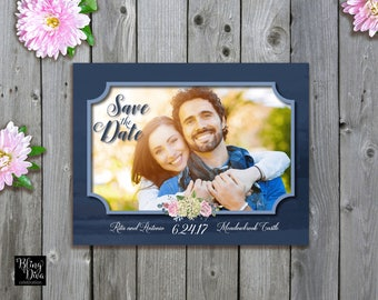 Blue Hydrangea Save the Date Custom Printable