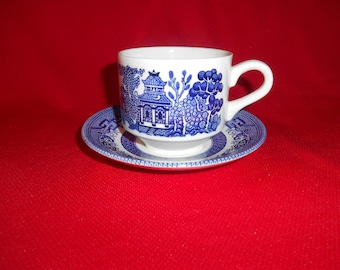 "One (1), 2 7/8"", Large Flat Cup & Saucer Set, from Churchill, in the Georgian Shape, Willow Blue Pattern."