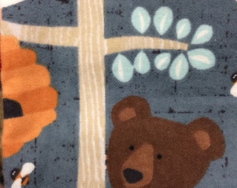 Flannel Gray Bear in the Woods Pillowcase