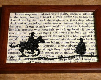 Classic Literature - Jane Eyre Silhouette Framed Embroidery Illustration.
