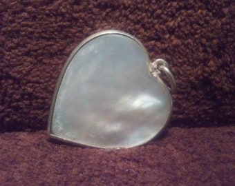 Sterling Silver and Mother of Pearl Heart Shaped Pendant