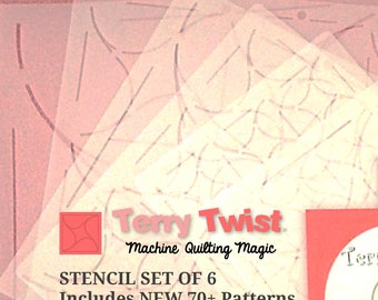 Machine Quilting Stencil Set of 6, 70 plus Terry Twist Patterns and How To Layout Guide CD, Teardrop Patterns, Size 2, 3, 4, 6, 9, 12 inches