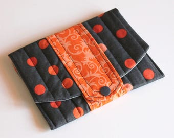 Flat clutch / identity papers / clips, pads - orange and black polka dot fabric