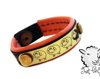 "Sheep Bracelet Lined - Brown Leather - Peach Leather - SIZE 6"" - Just For Ewe"