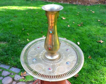 Brass Platter and Matching Vase Embedded With Turquoise Coral and Onyx Vintage
