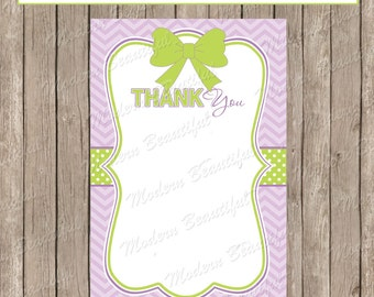 Thank You Note Card - Purple and Green Chevron Baby Shower Printable 4x6 Thank You Note Cards-  ll1  INSTANT DOWNLOAD