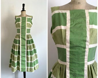 Vintage Late 50s Early 60s GIGI YOUNG New York Silk Shantung Two Shades of Green Midi Striped Day Dress / Size S