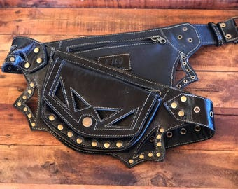 Black Leather Utility belt