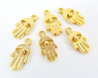 6 Rustic Mini Hamsa Hand of Fatima Eye Charms - 22k Matte Gold Plated