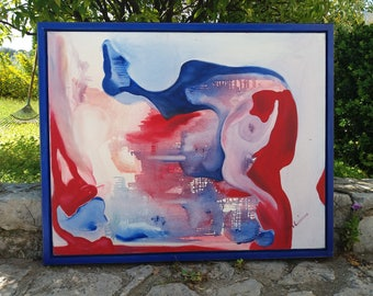 1995 Sangueleau painting abstract original oil on canvas 100 x 80