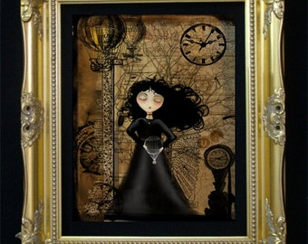 Steampunk Art - Steampunk Girl -- No Fear of Flying ---  Digital Painting -- Wall Decor