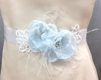 Bridal Baby Blue chiffon Flower Belt Sash