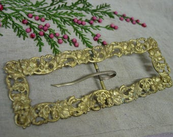 """Antique Victorian Metal Buckle, Long, Narrow, Gold  2 1/4 x 6"""" Floral"""