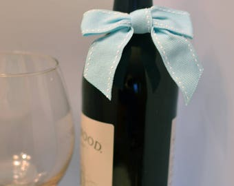 50 Boy Baby Shower Baby Blue Bows for Wine Bottles or Water Bottles, Ready to Use Baby Blue Bows with Elastic Strap on Back