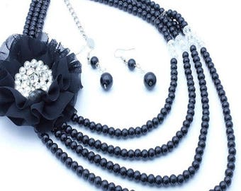 Black Glass Pearl Multi-Strand Necklace Set