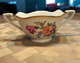Sugar Bowl Antique Bavaria Schumann with Wildflower Design and Gold Trim, Porcelain Serving Bowl, Item #593341078