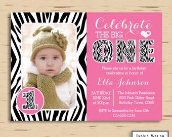 PRINTABLE Pink Zebra Print 1st Birthday Party Invitation, First Birthday DIY Digital Invite