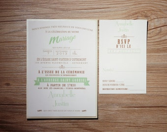 Mint Wedding Invitation, Mint Wedding Invitations, Mint Invitation, Mint Invitations, Rustic Wedding Invitation, Rustic wedding Invitations
