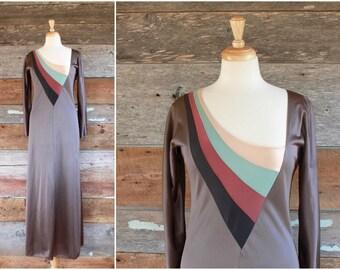 1970s John Kloss for Cira gown | 70s maxi dressing gown | designer lingerie | size s
