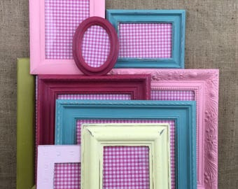 MULTI-COLOURED Custom Painted Frames Set of 5 - Collection of Shabby Vintage Chic Assorted Frames - With Glass and Backing