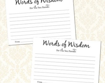 Please Leave Words Of Wisdom For The New Parents Cards, Baby Shower Advice Cards, Digital Download