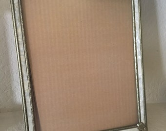 Mid Century Faux Mother of Pearl Gold Metal Easel Picture Frame for Desk Table Shelf or Wall